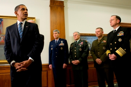 President Obama with members of the Joint Chiefs of Staff. (Adm. Roughead not photographed)