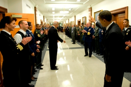 President Obama and Vice President Biden greet servicemembers in the Pentagon
